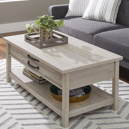 Better Homes & Gardens Modern Farmhouse Lift Top Coffee Table, Rustic White Finish Wellington Cocktail Table