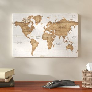 Wall maps walmart union rustic distressed world map graphic art print on canvas gumiabroncs Image collections
