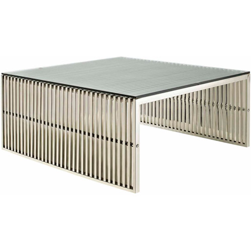Modway Gridiron Stainless Steel Coffee Table With Glass Top In Silver