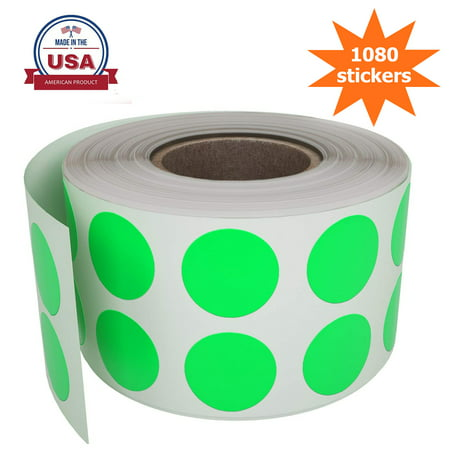 Color Coding Stickers in Neon green 0.50 inch,  Round Dot Labels in Rolls Write On Surface - 1080 Pack by Royal Green - Dot Sticker
