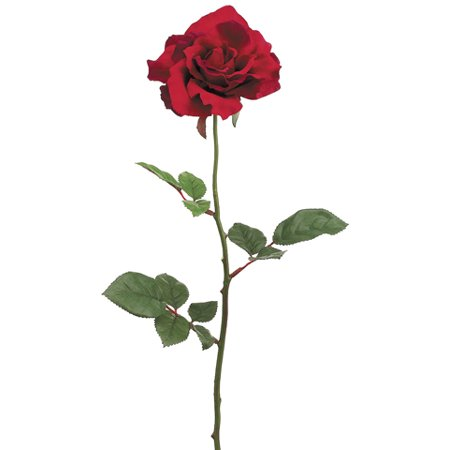 Club Pack of 24 Artificial Large Single Red Rose Silk Flower Sprays (Large Silk Rose)