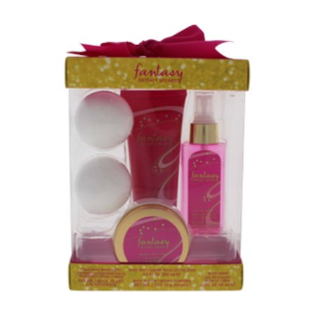 Fantasy by Britney Spears for Women - 4 Pc Kit 3.4oz Hair Mist, 3.3oz Body Wash, 2.7oz Body Butter, 2 x 2.65oz Fragrant Bath Fizzes - image 1 de 3