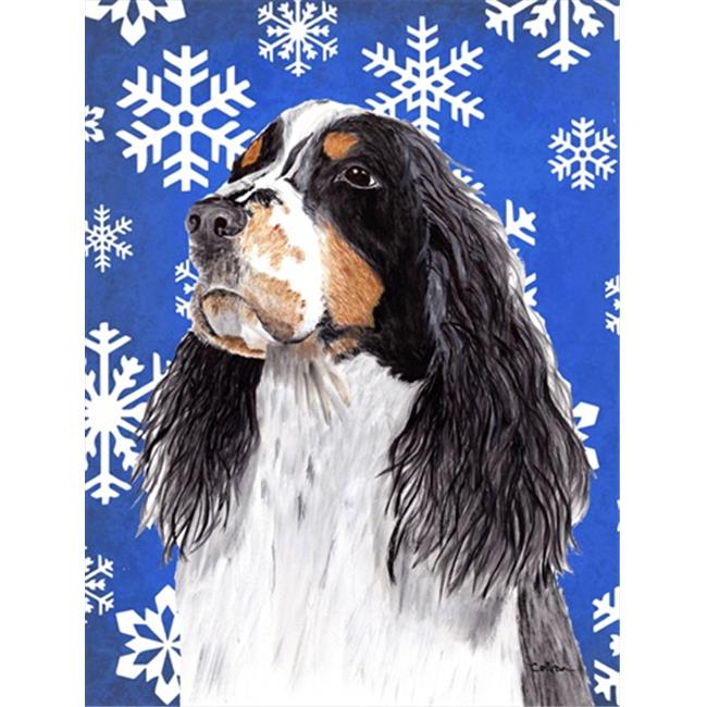 11 x 15 in. Springer Spaniel Winter Snowflakes Holiday Garden Size Flag - image 1 of 1