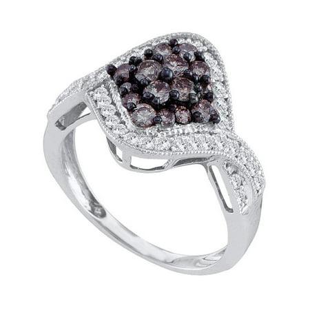 10kt White Gold Womens Round Cognac-brown Color Enhanced Diamond Twist Cluster Ring 1.00 Cttw - image 1 de 1