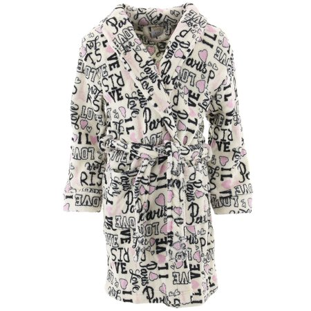 Sweet-N-Sassy Girls Love Paris White Fleece Bathrobe - Kids Bathrobe