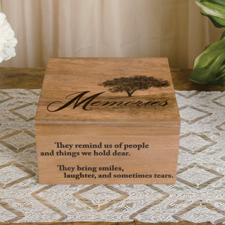 """12"""" Memories Keepsake and Trinket Wrapped Wood Box with Photo Holder"""
