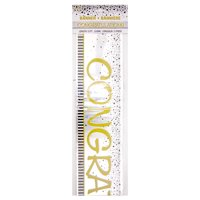 """Foil """"Congratulations"""" Banner, 12 ft, Black and White, 1ct"""