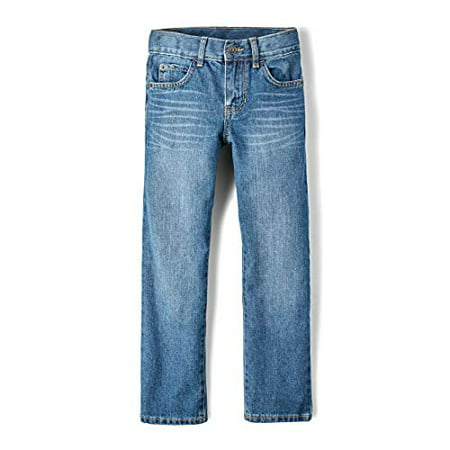 The Children's Place Big Boys' Straight Leg Jeans, Carbon,4