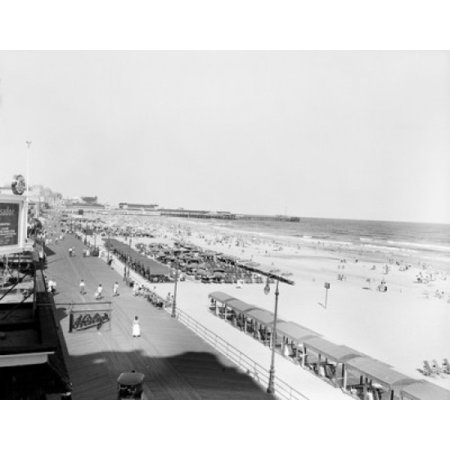 USA New Jersey Atlantic City promenade near beach Canvas Art -  (18 x (Mall Near New Jersey)