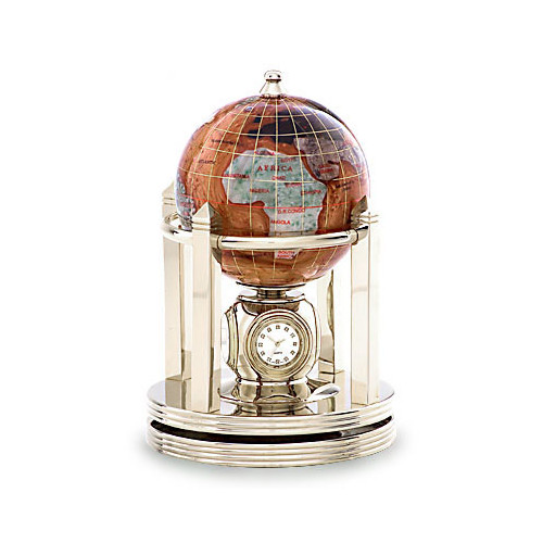 Alexander Kalifano Gemstone Globe with Opalite Ocean and Galleon Rotating Base
