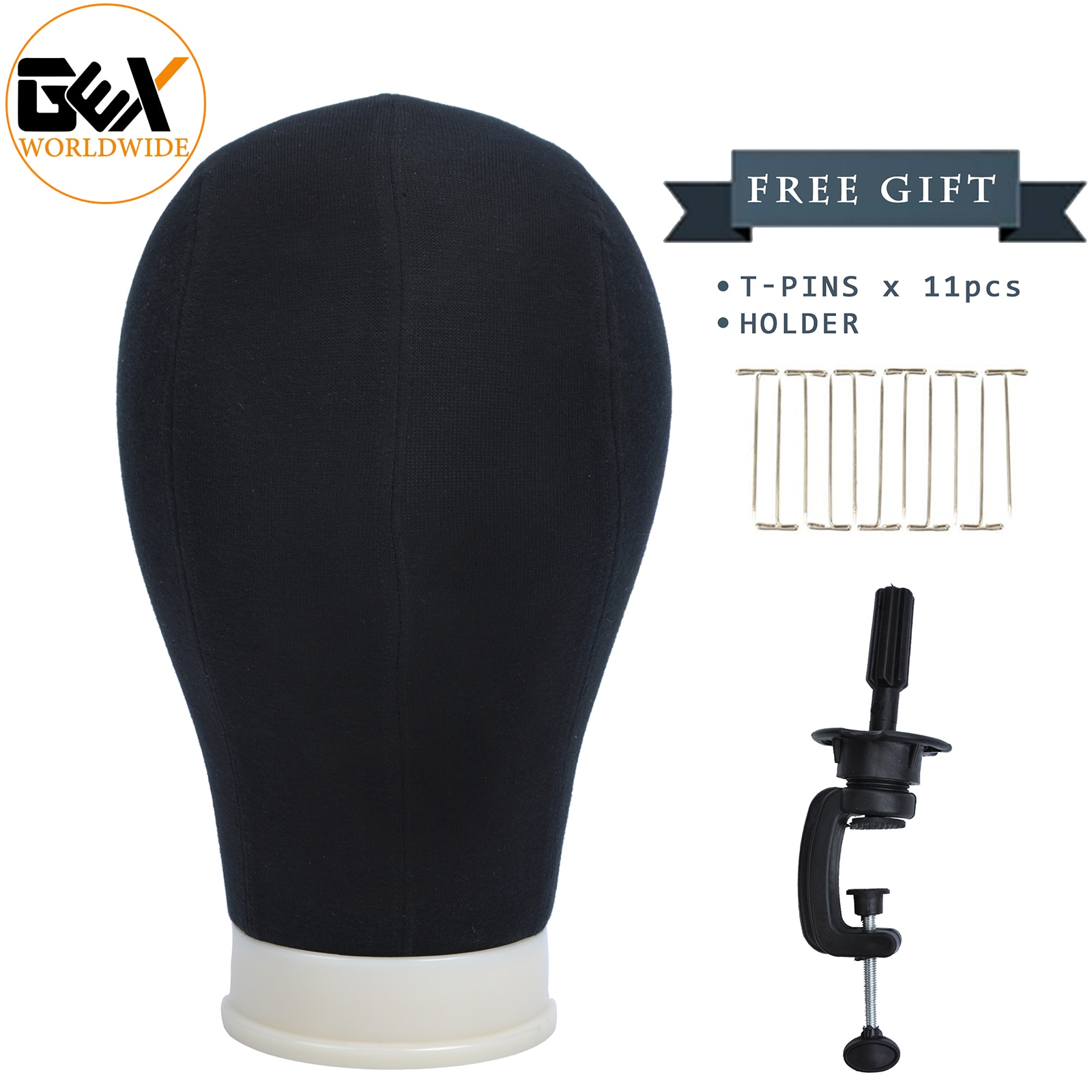 GEX Poly Canvas Block Mannequin Head with Mount Hole Clamp&T Neesdles Black