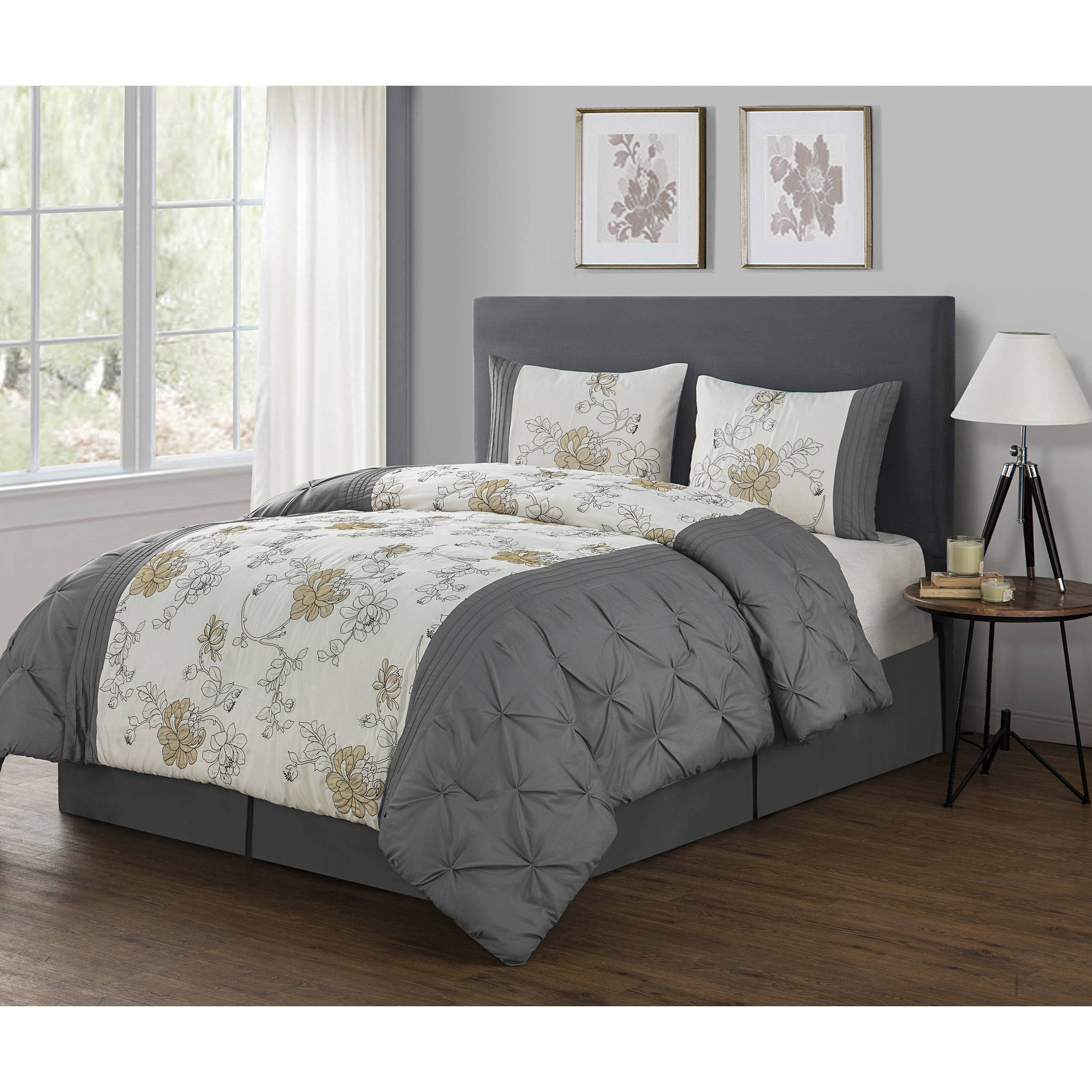 VCNY Home Multi-Color Floral Textured 4-Piece Alexis Bedding Comforter Set, Shams and Bedskirt Included