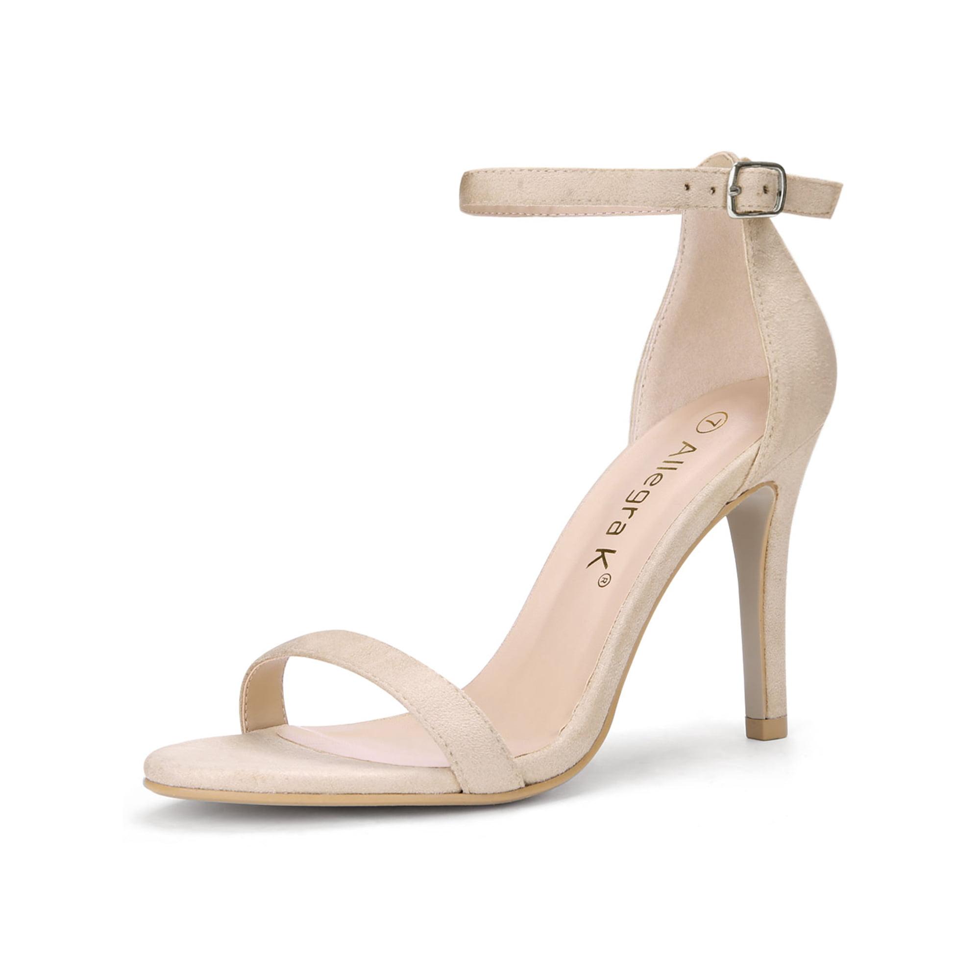 547a017254a89 Allegra K Women Stiletto High Heel Ankle Strap Sandals Beige US 9