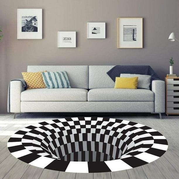 Round Area Rug,Checkered 3D Vortex Optical Illusions Mats,Durable Anti-Slip Floor  Mat Carpet Non-Woven Black White Plaid Doormat for Living Dining Room  Bedroom Kitchen - Walmart.com - Walmart.com