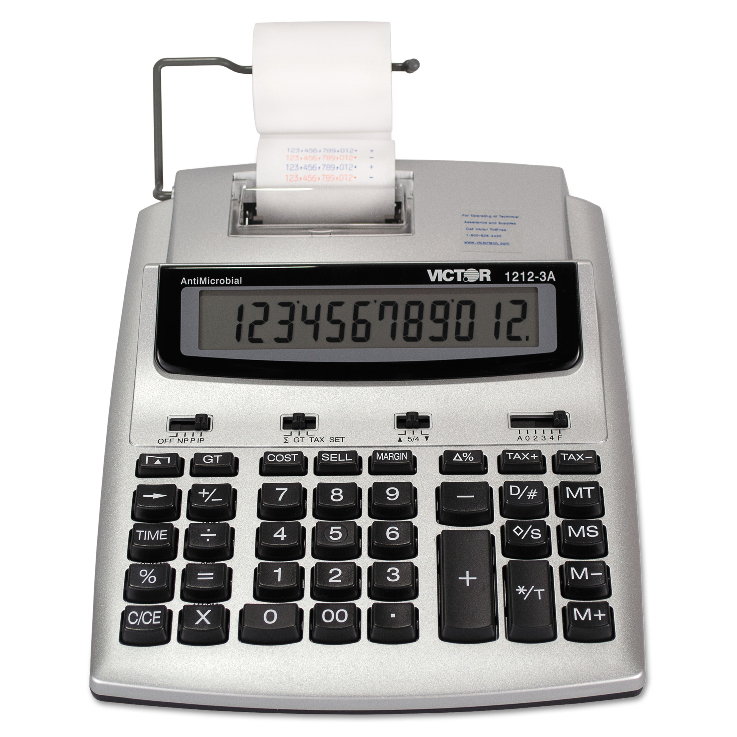 Victor 1212-3A Antimicrobial Printing Calculator, Blue/Red Print, 2.7 Lines/Sec