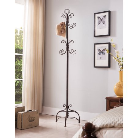 Cecily Brushed Copper Metal Transitional 8 Hook Hat & Coat Rack Hall Tree Display - Hall Stand