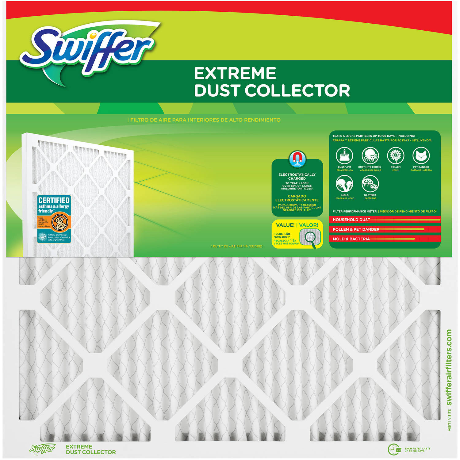 Flanders Corporation Swiffer Extreme Dust Air Filter, MERV 11, 12 x 24 x 1, 1 - Pack