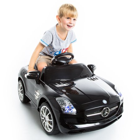 Costway black mercedes benz sls r c mp3 kids ride on car for Mercedes benz toddler car