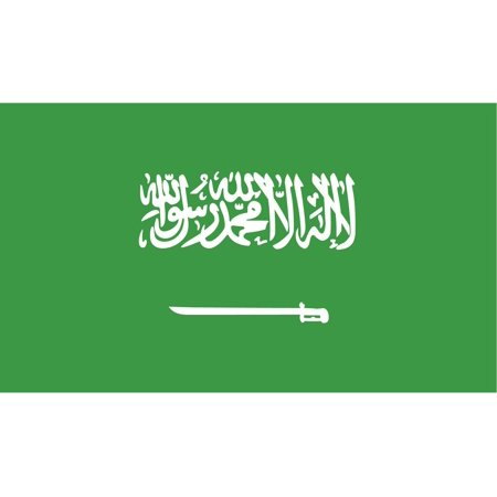 2-Pack Saudi Arabia Flag Decal Sticker | 5-Inches By 3-Inches | Laminated Vinyl Decal | PDS524