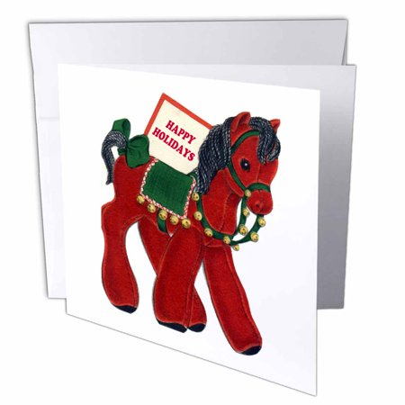 3dRose Cartoon of Stuff Toy Horse Wishing Happy Holidays, Greeting Cards, 6 x 6 inches, set of 12 ()