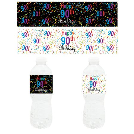 Happy 90th Birthday Party - Water Bottle Labels (Set of 20) - 90th Birthday Party