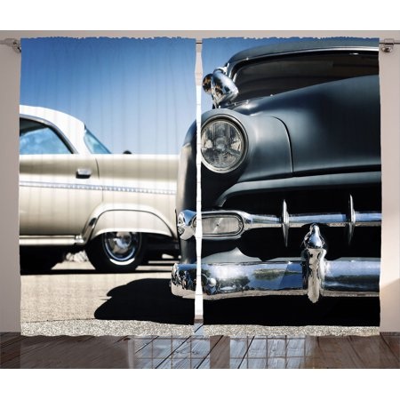 Old Car Decorations Curtains 2 Panels Set, American Classics Old Style Fifties Auto Wheels Transportation History Art Print, Living Room Bedroom Accessories, By - Fifties Decorations
