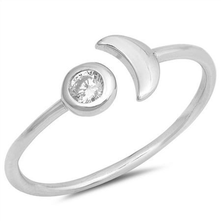 Clear Bezel Set Cubic Zirconia Half Moon Ring Sterling Silver