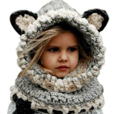 Cute Baby Girl Winter Warm Wool Knitted Earflap Hat Scarf Hood Scarf Beanie Hat