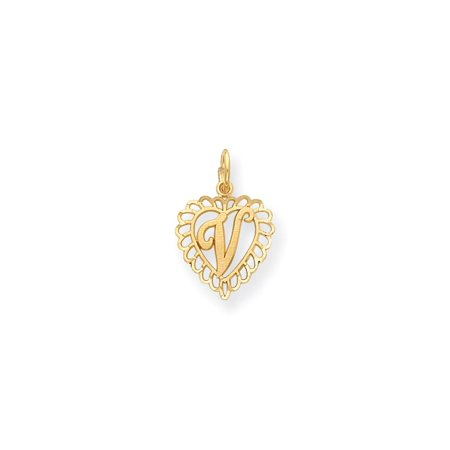 14k Yellow Gold Letter V Initial Inside Heart Charm With Fancy Border 23x15mm Initial Heart Charm Letter