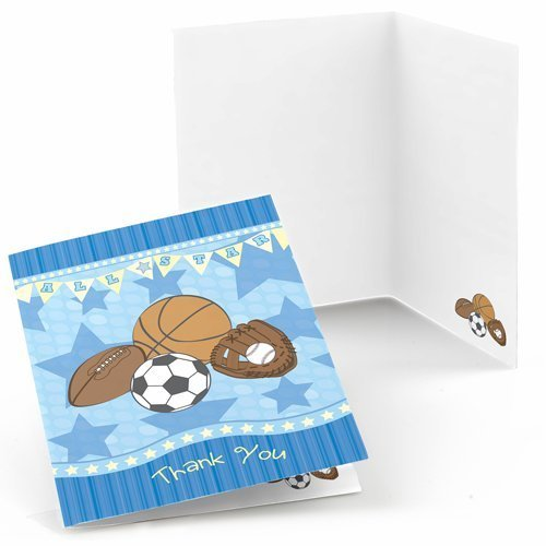 All Star Sports - Baby Shower or Birthday Party Thank You Cards (8 count)