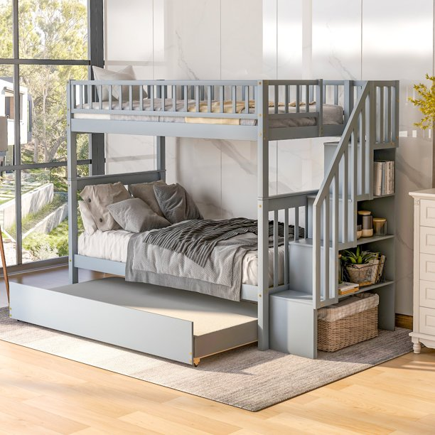 Euroco Twin Over Bunk Bed With, Bunk Bed With Trundle And Storage Drawers