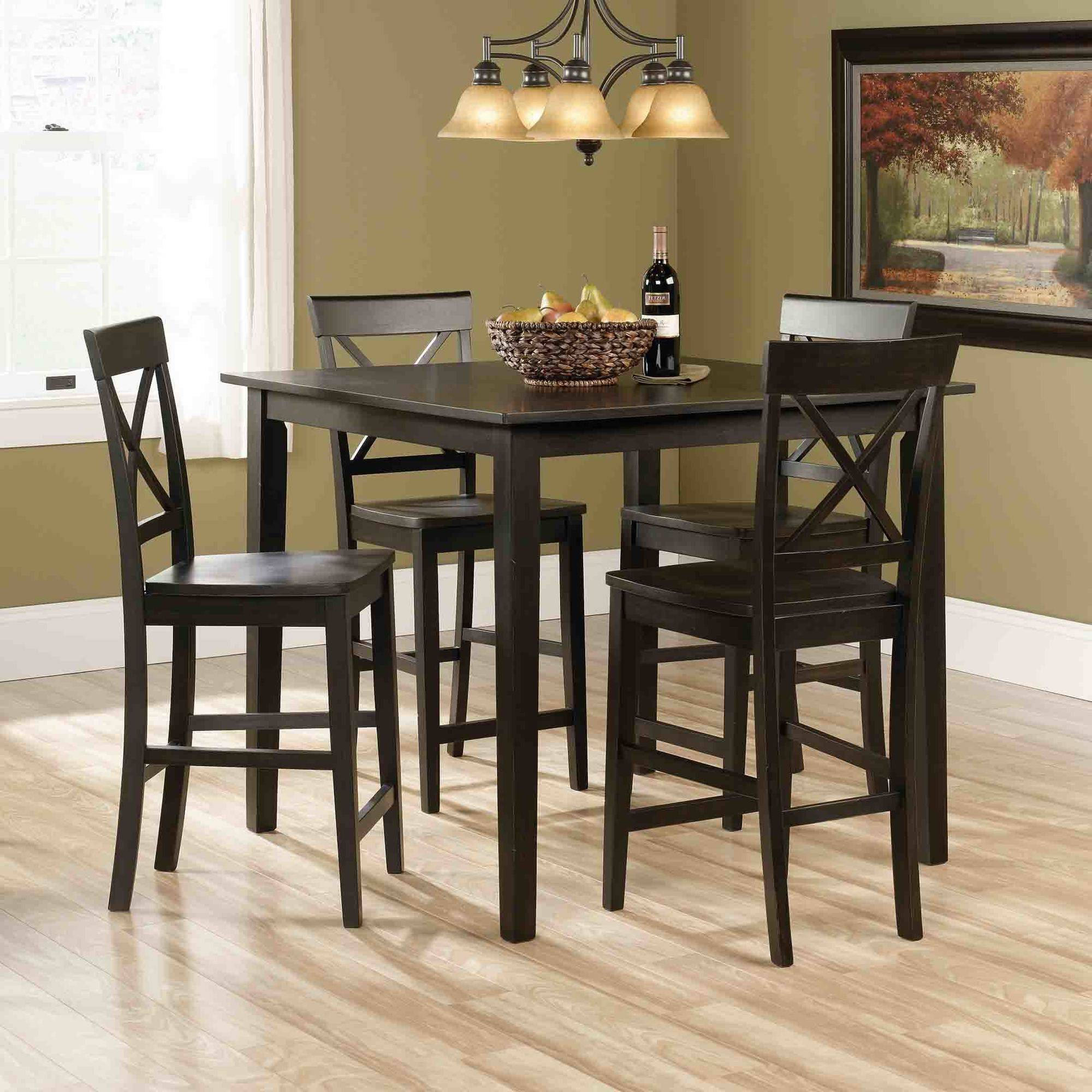 Sauder Edge Water Counter Height 5 Piece Dining Set, Estate Black