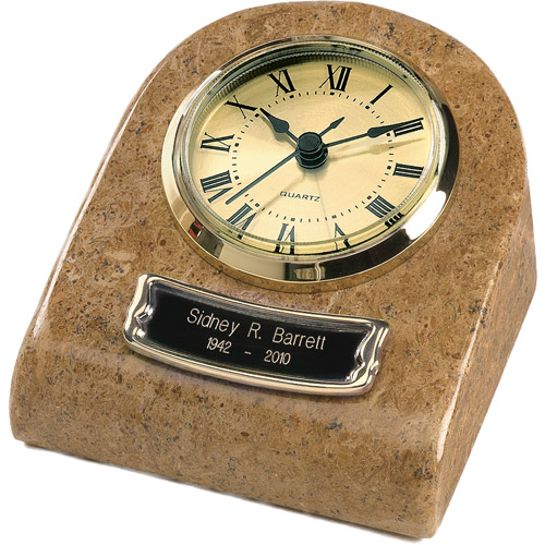 Star Legacy's Clock Tower Deluxe Genuine Marble Keepsake Cremation Urn Grain, Cr������me with Earth Tone