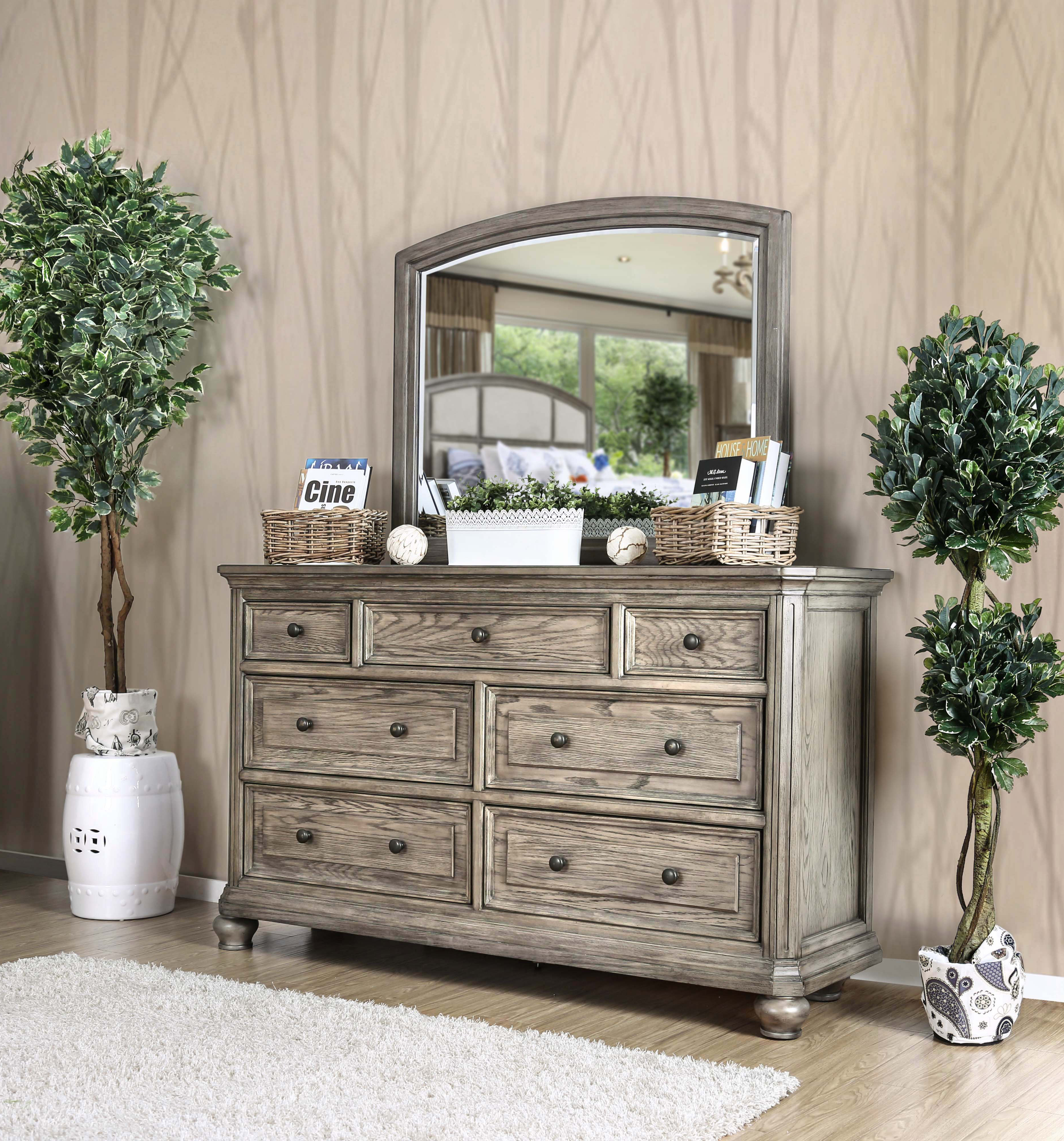 Furniture of america kineth rustic dresser and mirror set wire brushed gray walmart com