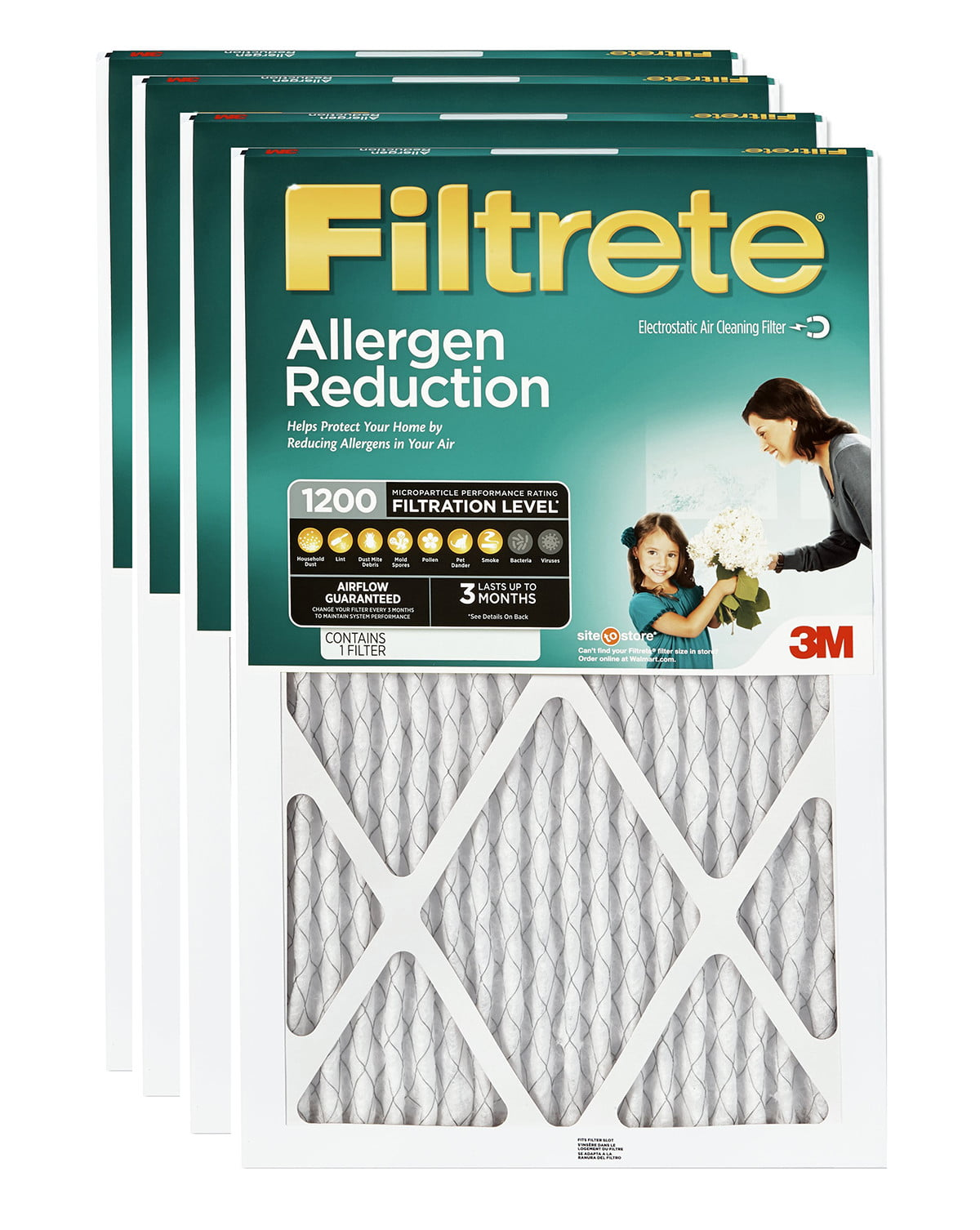 4-Pack 1085 Filtrete-Extra Air-Filter Pleated Furnace Smog Smoke Pollen Allergen