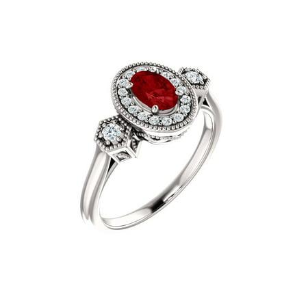 14k White Gem Quality Gold Chatham® Created Ruby & 1/6 Ct Diamond Halo