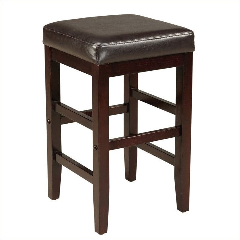 Standard Furniture Smart Stools Square Stool w/ Brown Leatherette Seat - 24 Inch