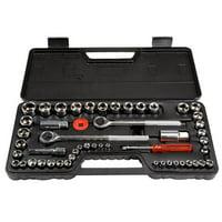 Stalwart M550028 0.25, 0.37 & 0.5 in. SAE & Metric Drive Socket Set - 52 Piece
