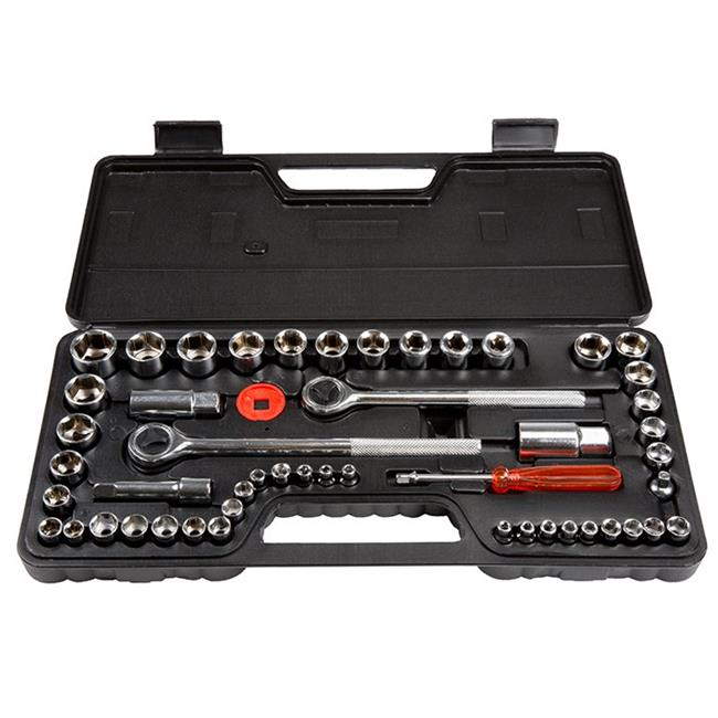 Stalwart M550028 0.25, 0.37 & 0.5 in. SAE & Metric Drive Socket Set - 52 Piece