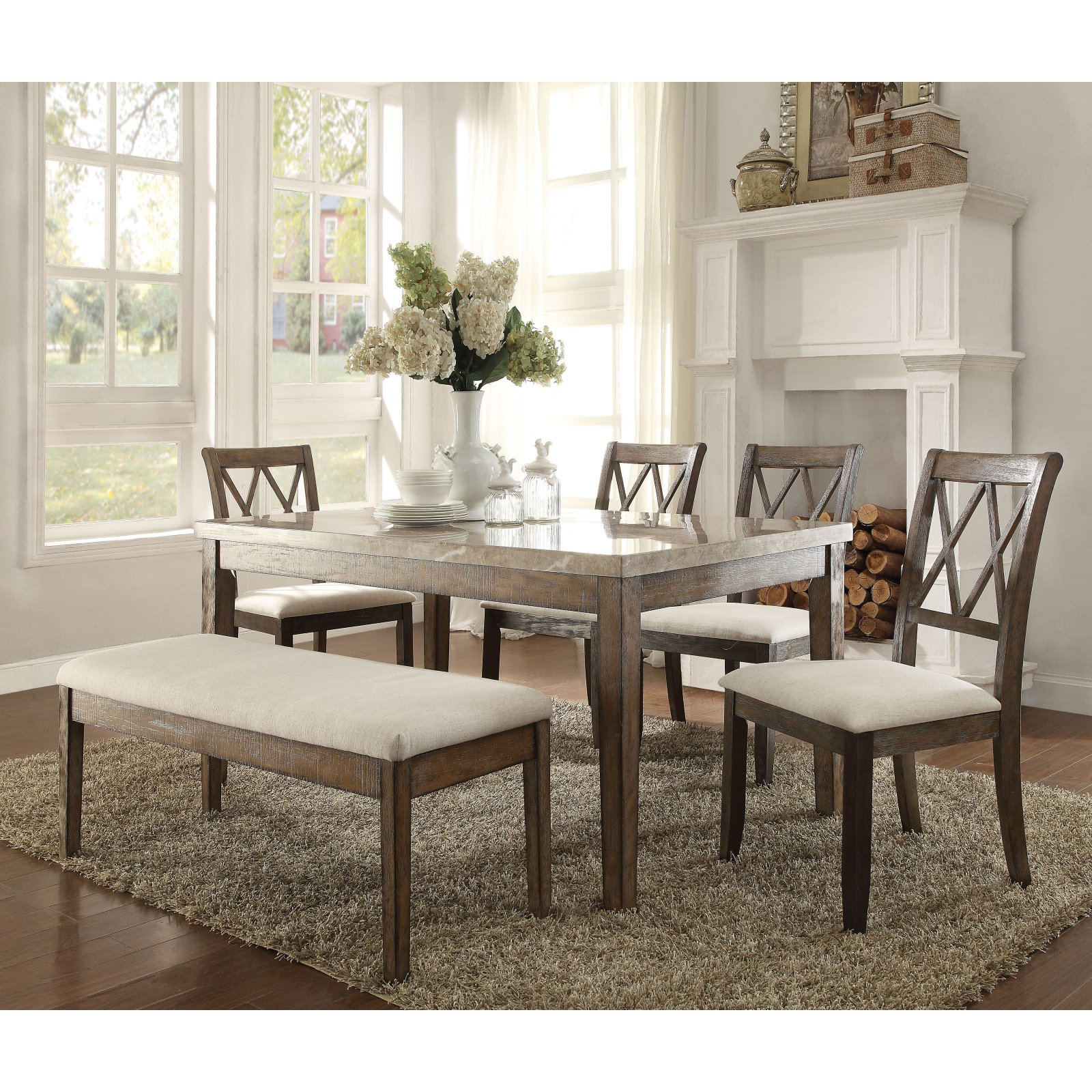 Acme Furniture Claudia Marble Dining Table