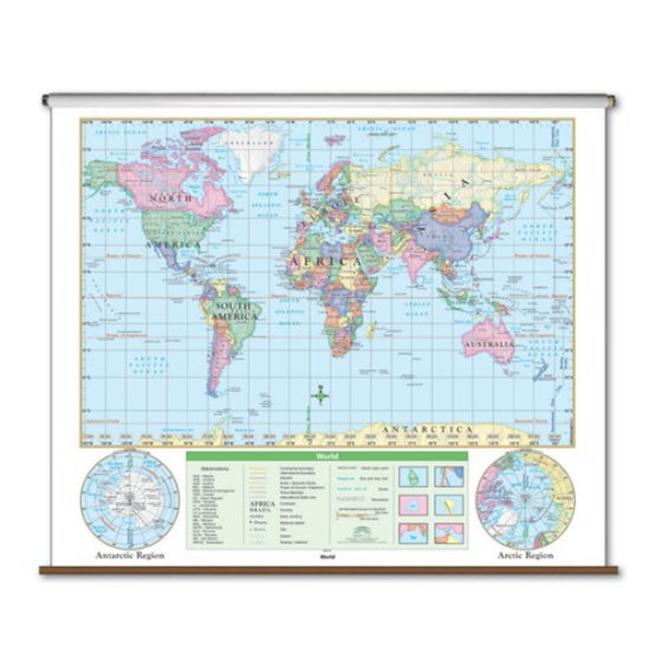 Universal Map 28464 World Essential Wall Map - Backboard