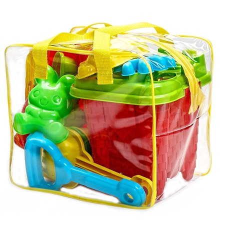 15-Pieces Beach Sand Toys Set in Zippered Bag Castle Bucket - Walmart Sand Toys