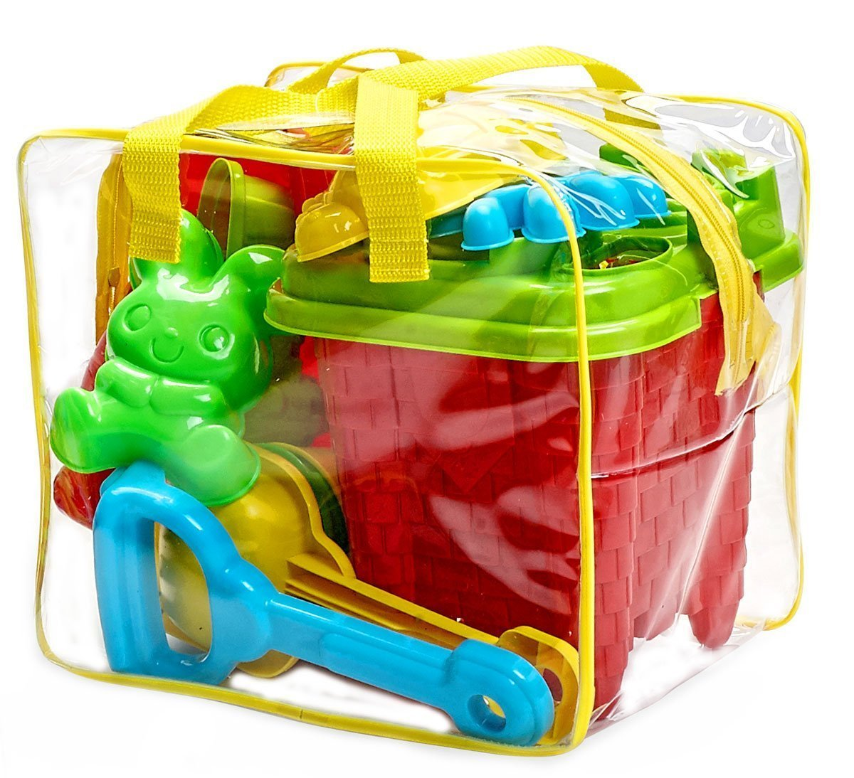 15-Pieces Beach Sand Toys Set in Zippered Bag Castle Bucket