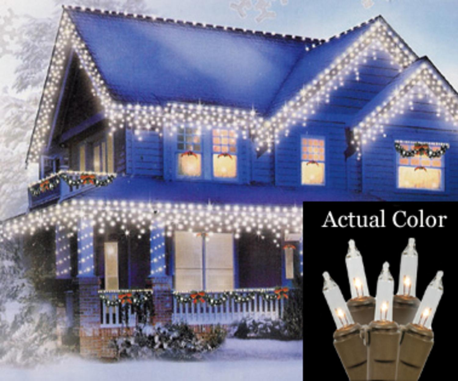 Set of 100 clear mini icicle christmas lights brown wire walmart aloadofball Gallery
