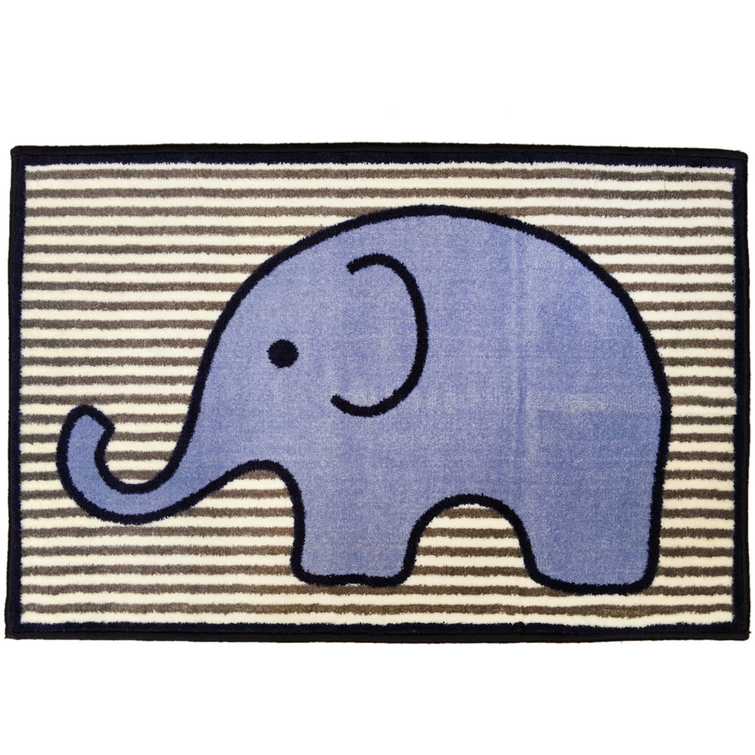 Bacati - Elephants Rug 24 x 36 inches Nylon with nonskid backing, Blue/Gray