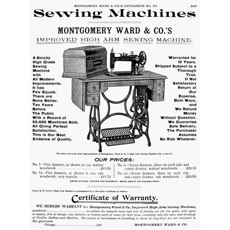 Sewing Machine Ad 1895 Npage From A Montgomery Ward Catalogue Of 1895 Rolled Canvas Art -  (24 x