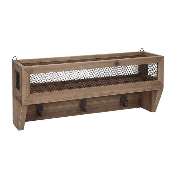 Shelf Rustic Wooden Wall Mount Mail, Rustic Coat Rack Wall Mounted Shelf With Hooks And Baskets