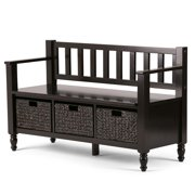 Brooklyn + Max Bathurst Solid Wood 48 inch Wide Transitional Entryway Storage Bench in Dark Exeter Brown