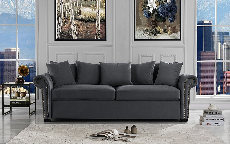 Classical living room furniture Big Luxury Classic Scroll Arm Velvet Living Room Sofa With Nailhead Trim navy Blue Walmartcom Walmart Classic Scroll Arm Velvet Living Room Sofa With Nailhead Trim navy