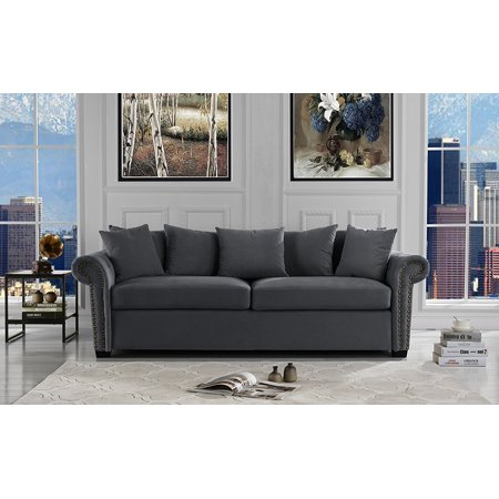Strange Classic Scroll Arm Velvet Living Room Sofa With Nailhead Trim Dark Grey Theyellowbook Wood Chair Design Ideas Theyellowbookinfo